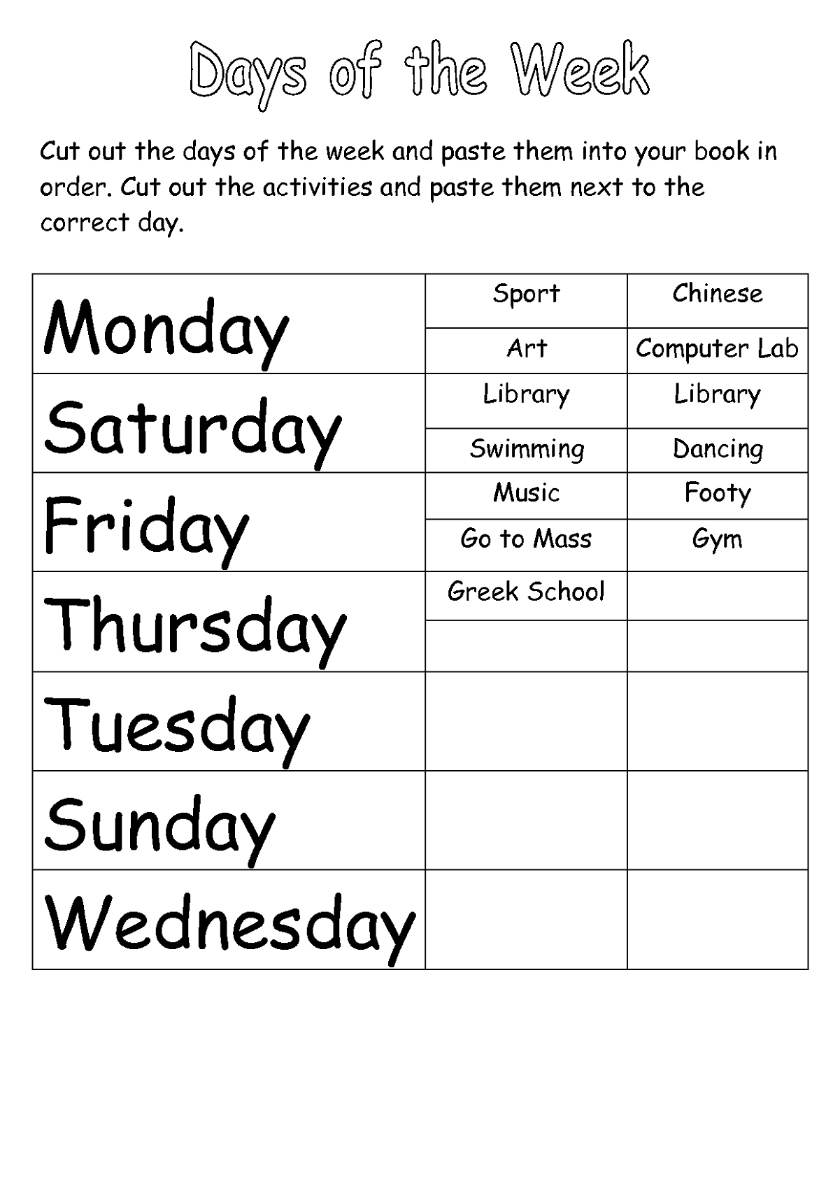 worksheets for days of the week with schedule