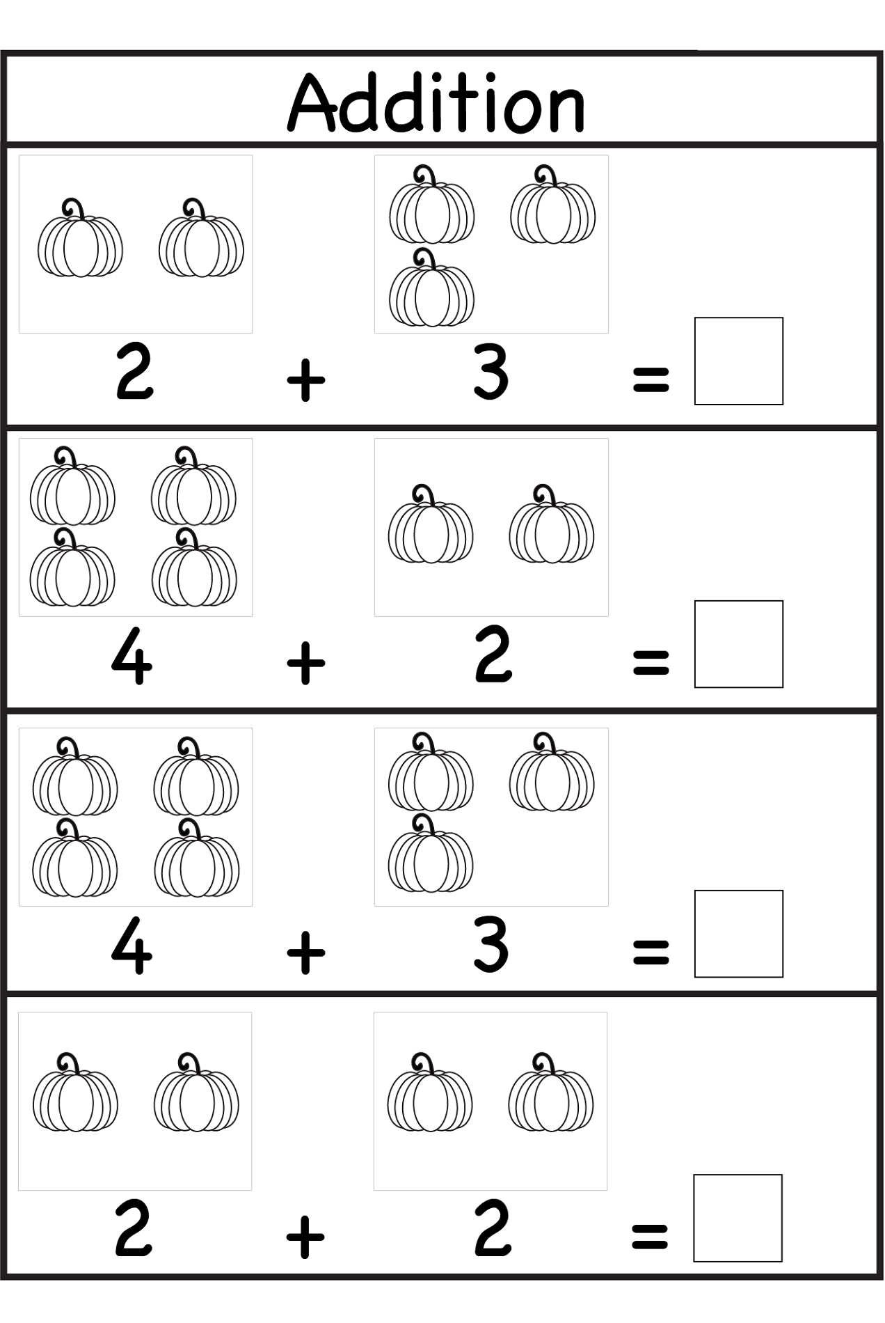 worksheets for fun addition