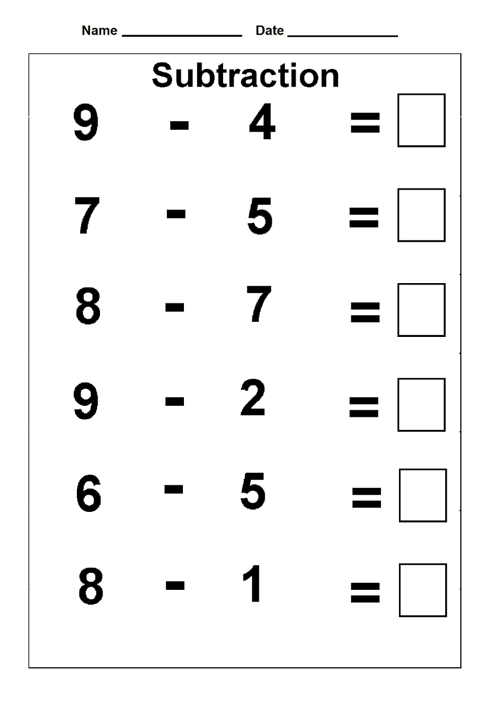worksheets for fun subtraction