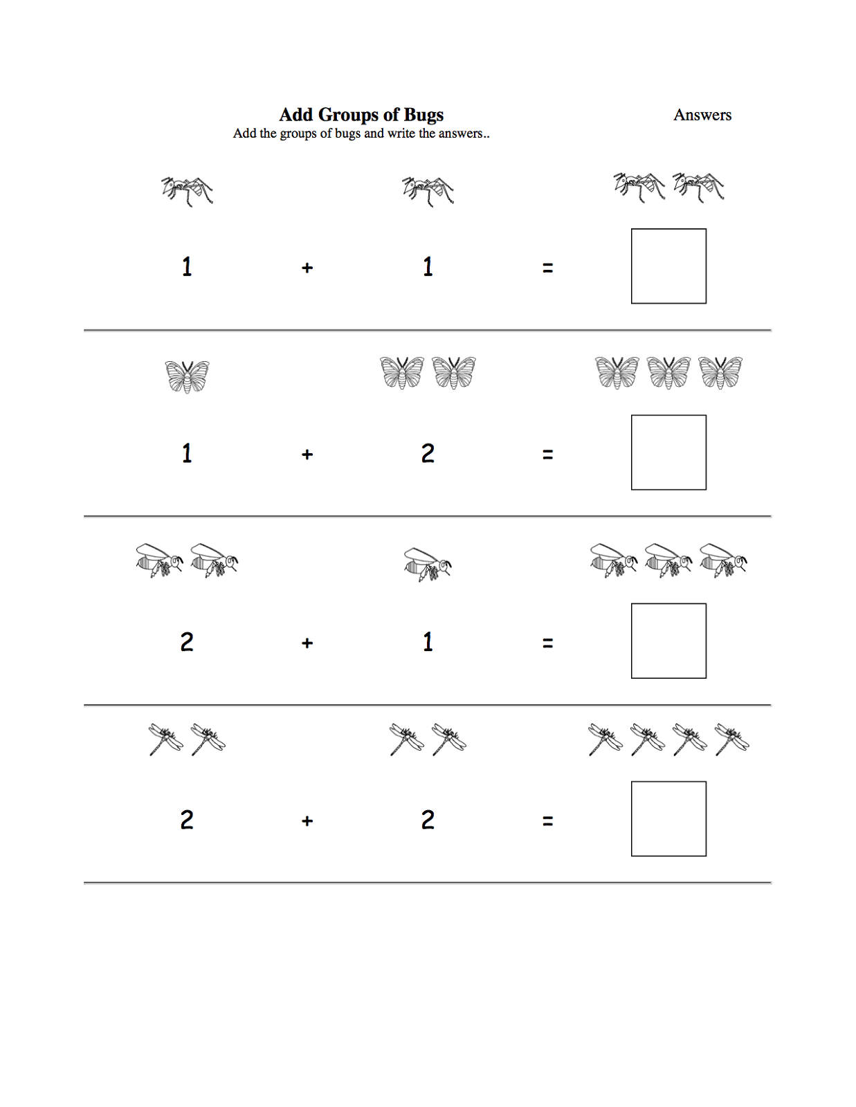 worksheets for three year olds addition
