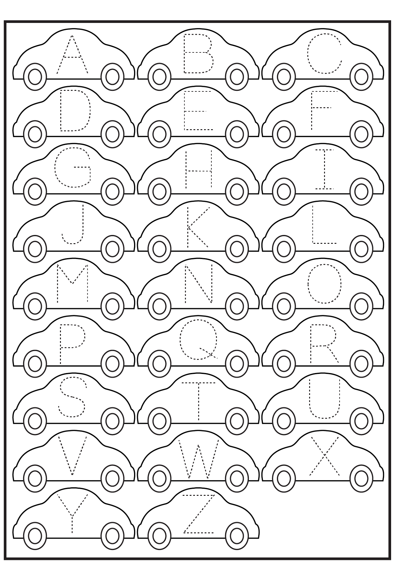 abc traceable worksheets cars