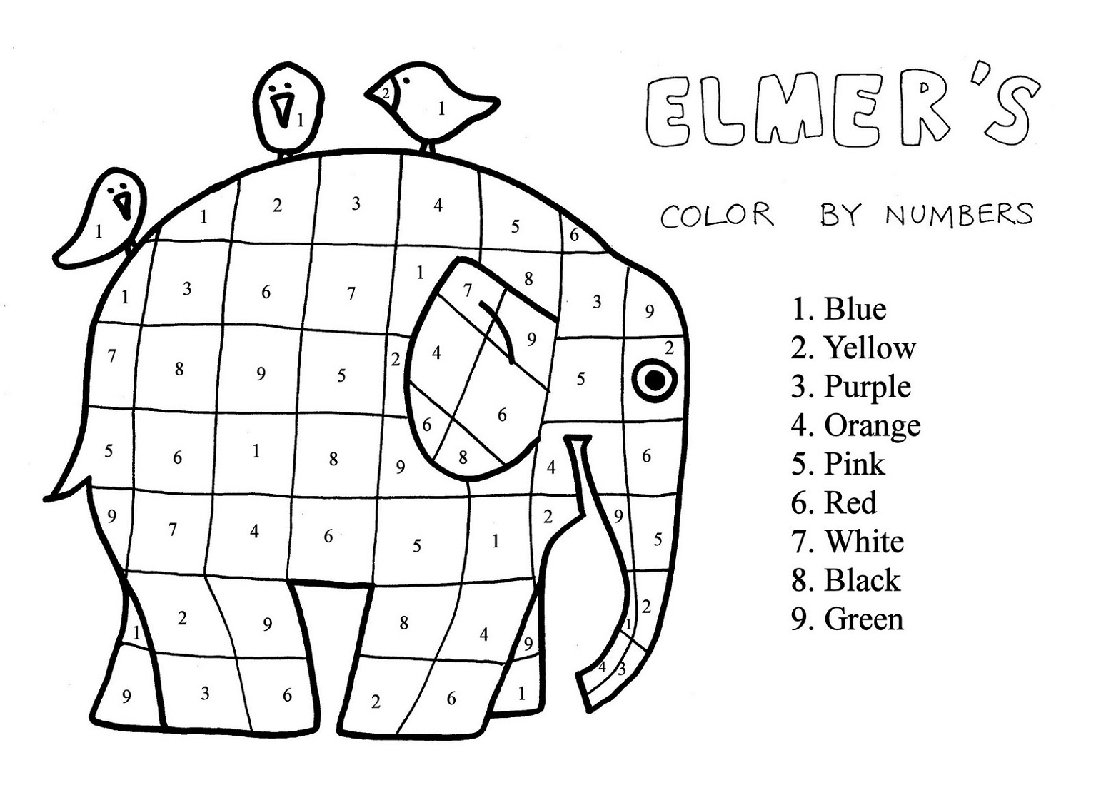 free number worksheets for colouring