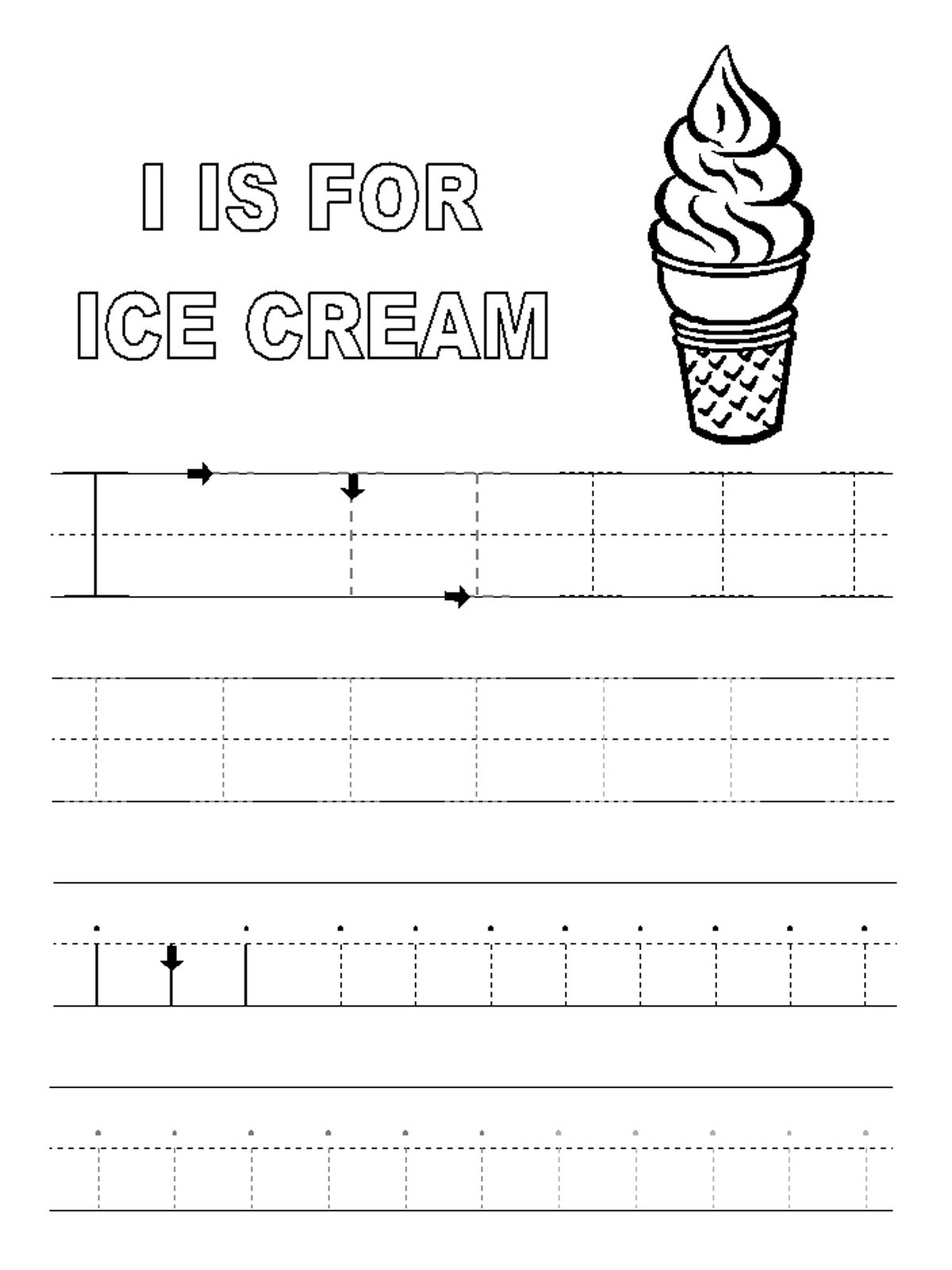 letter i worksheets ice cream