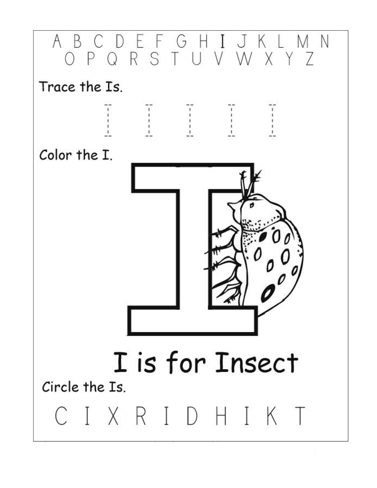 letter i worksheets insect