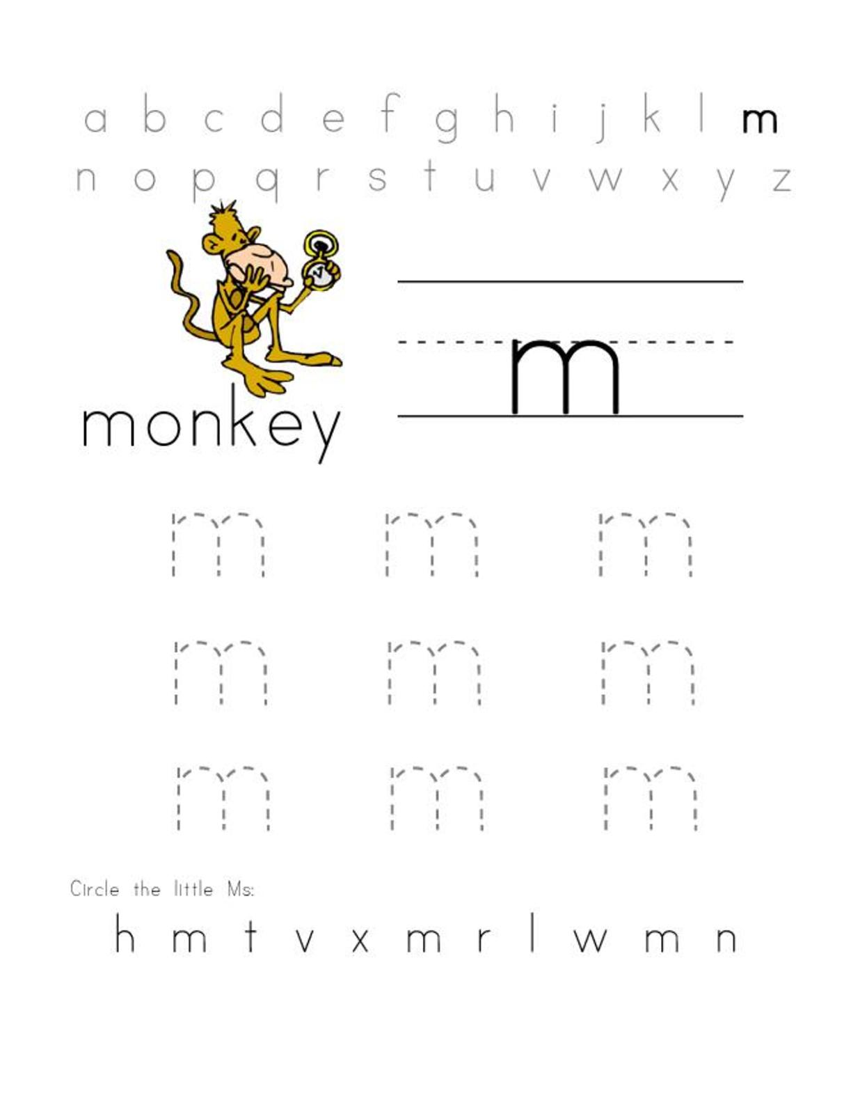 letter m worksheets for kids