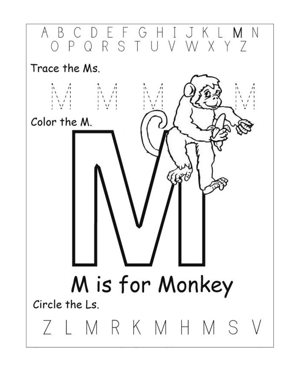 letter m worksheets monkey