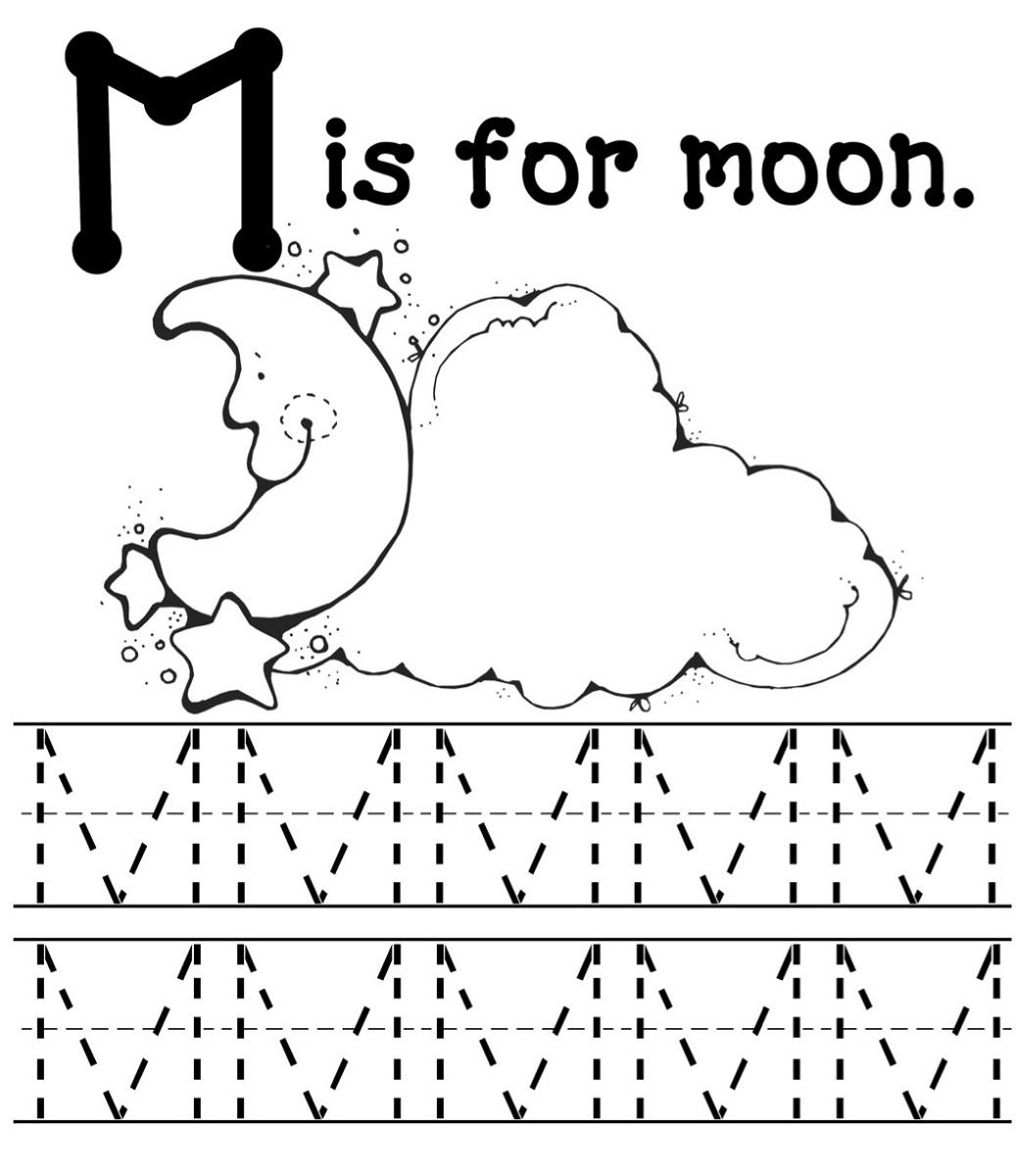 letter m worksheets moon