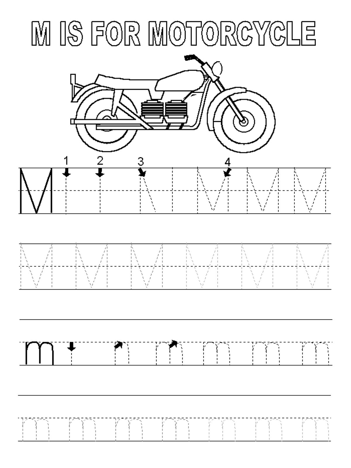 letter m worksheets motorcycle