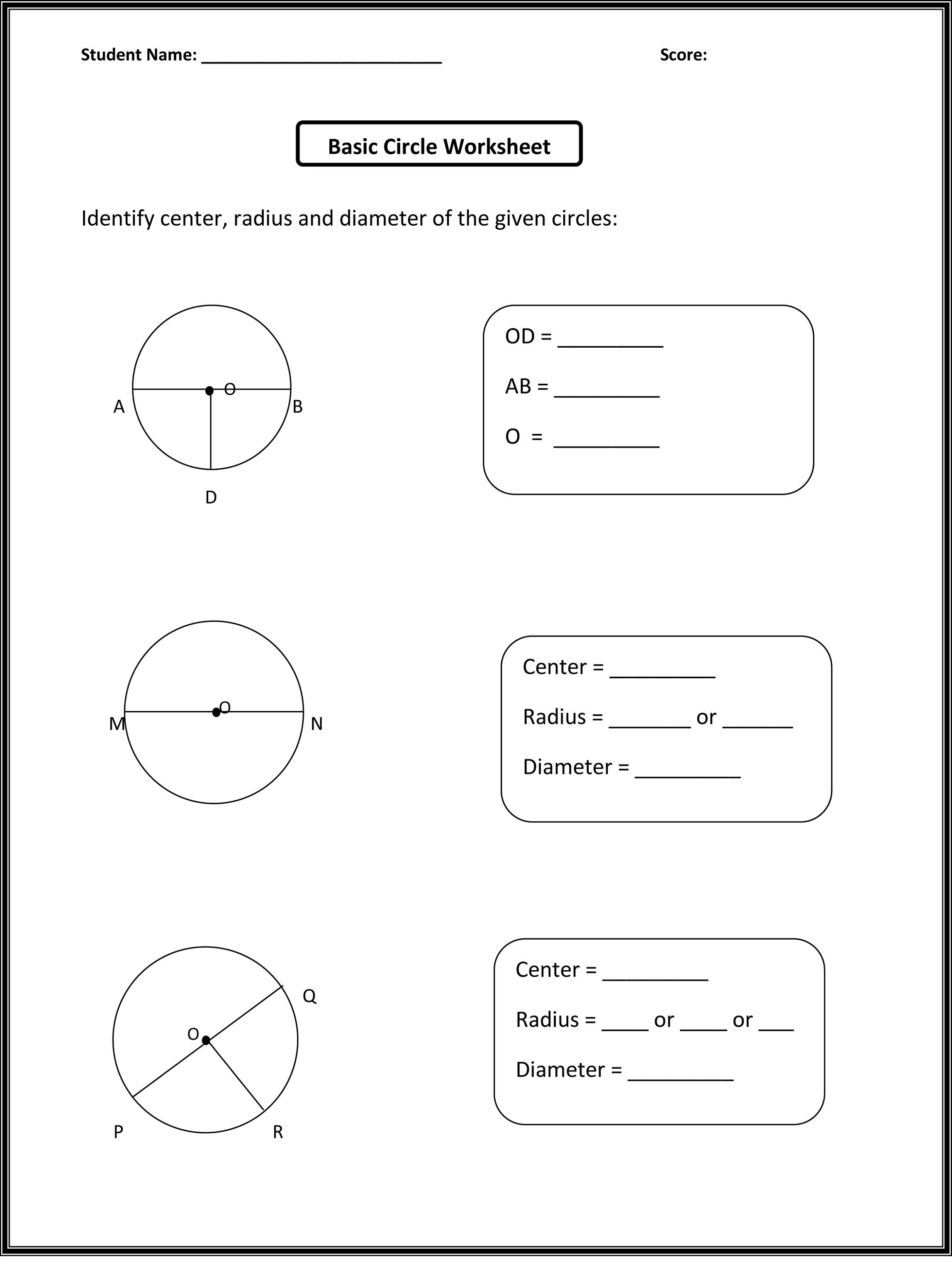 Printable Tally Chart Worksheets – Radius and Diameter Worksheet