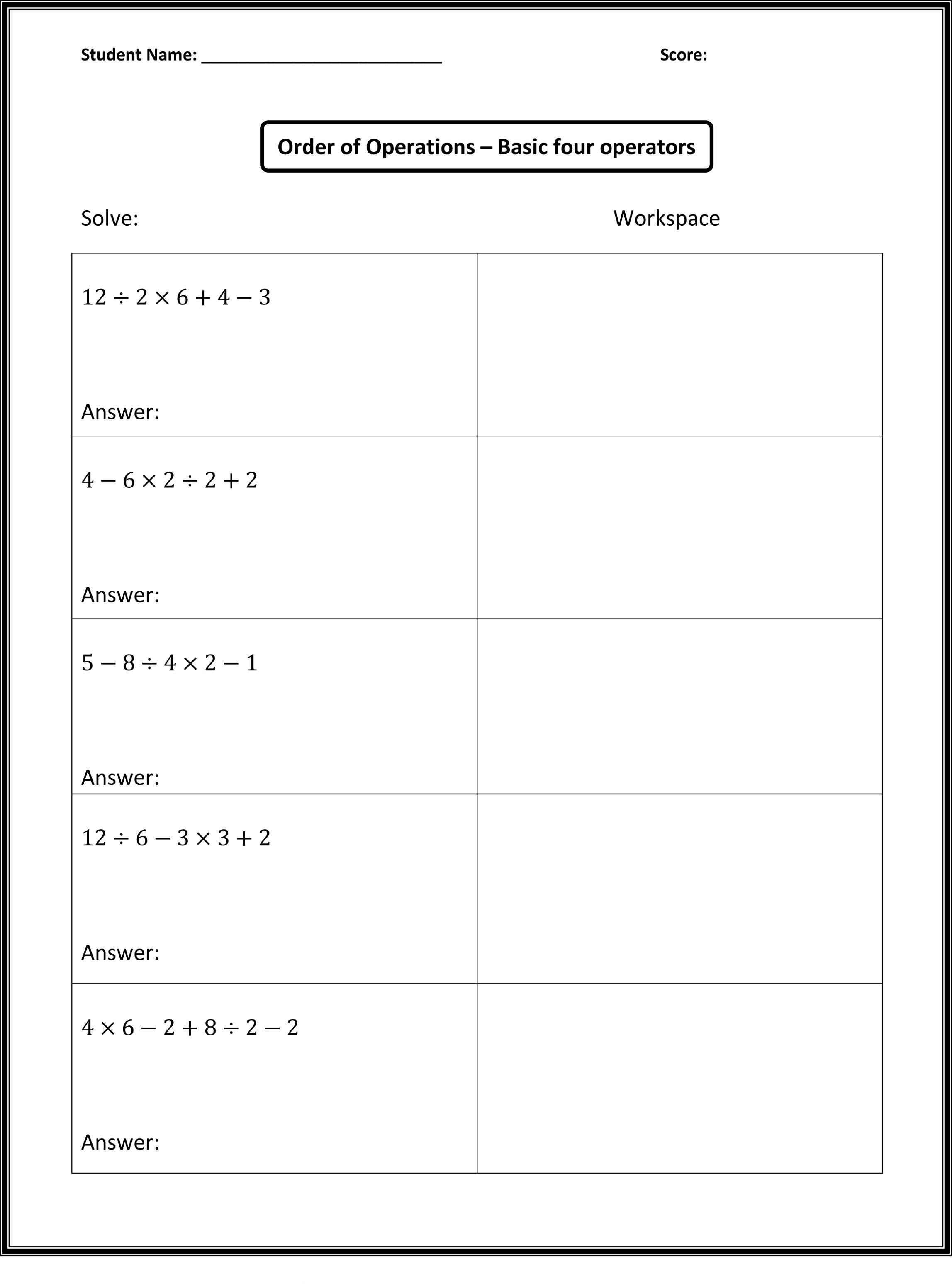 math worksheets images for practice