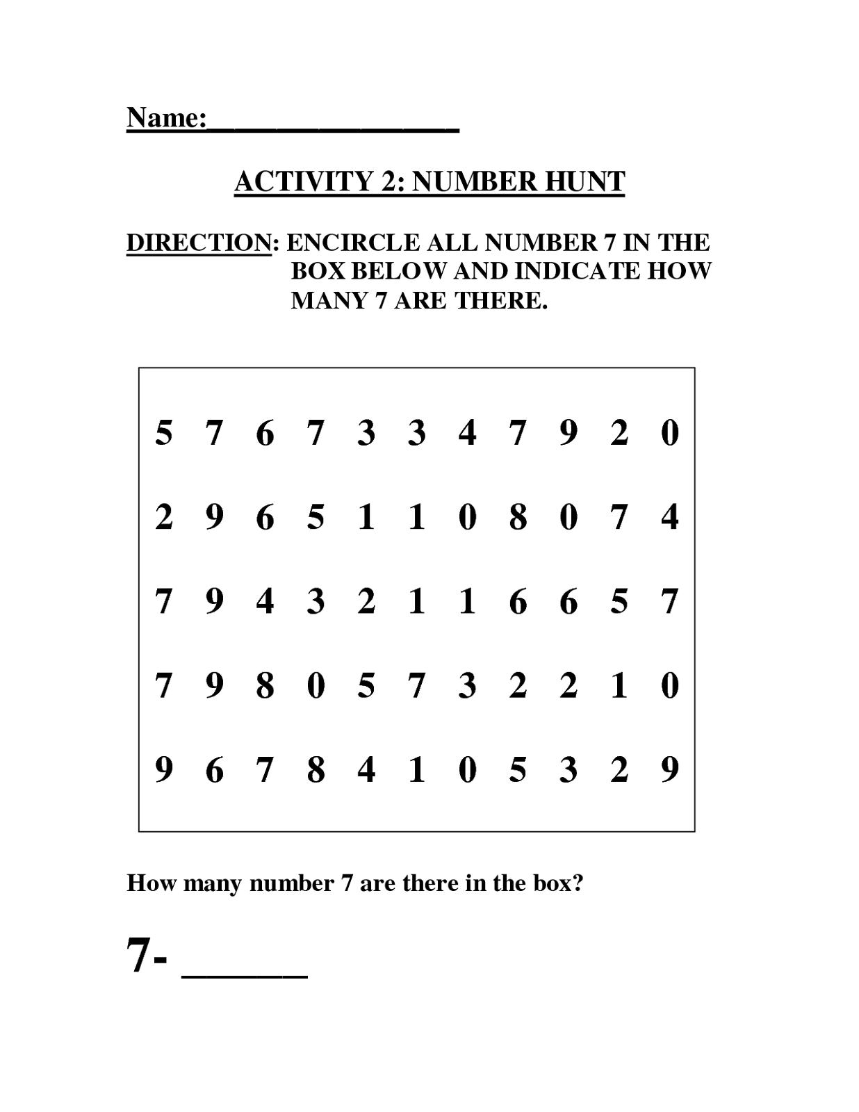 number 7 worksheet activity