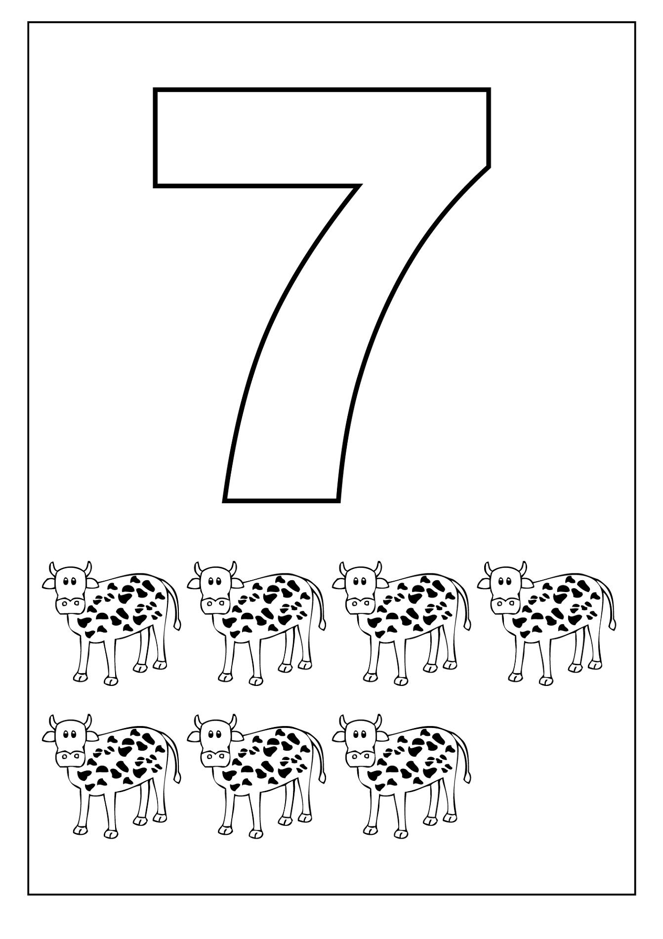 number 7 worksheet cows