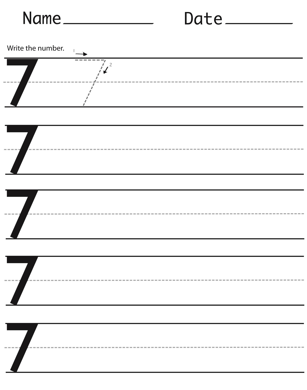 number 7 worksheet for school