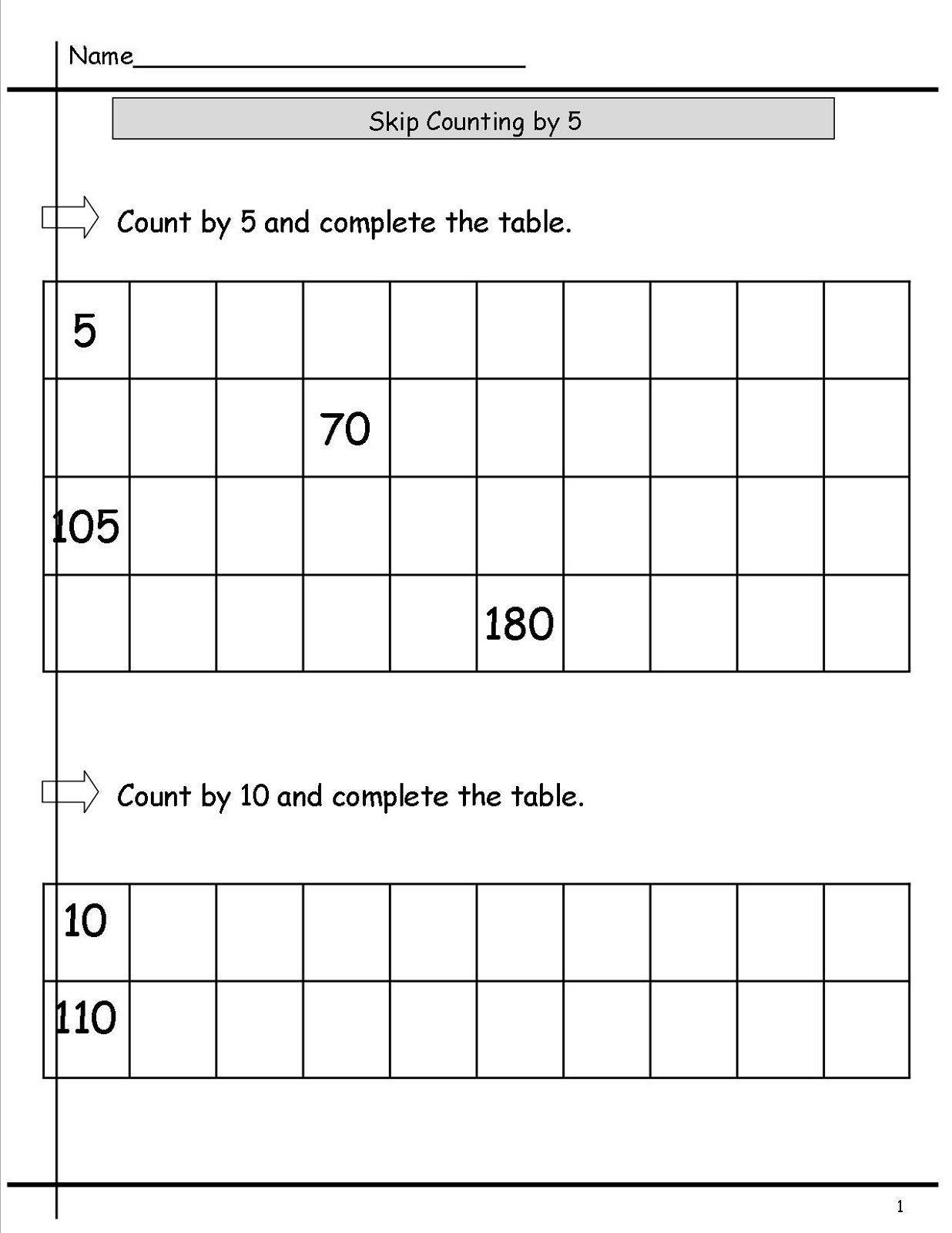 skip count by 5 worksheet