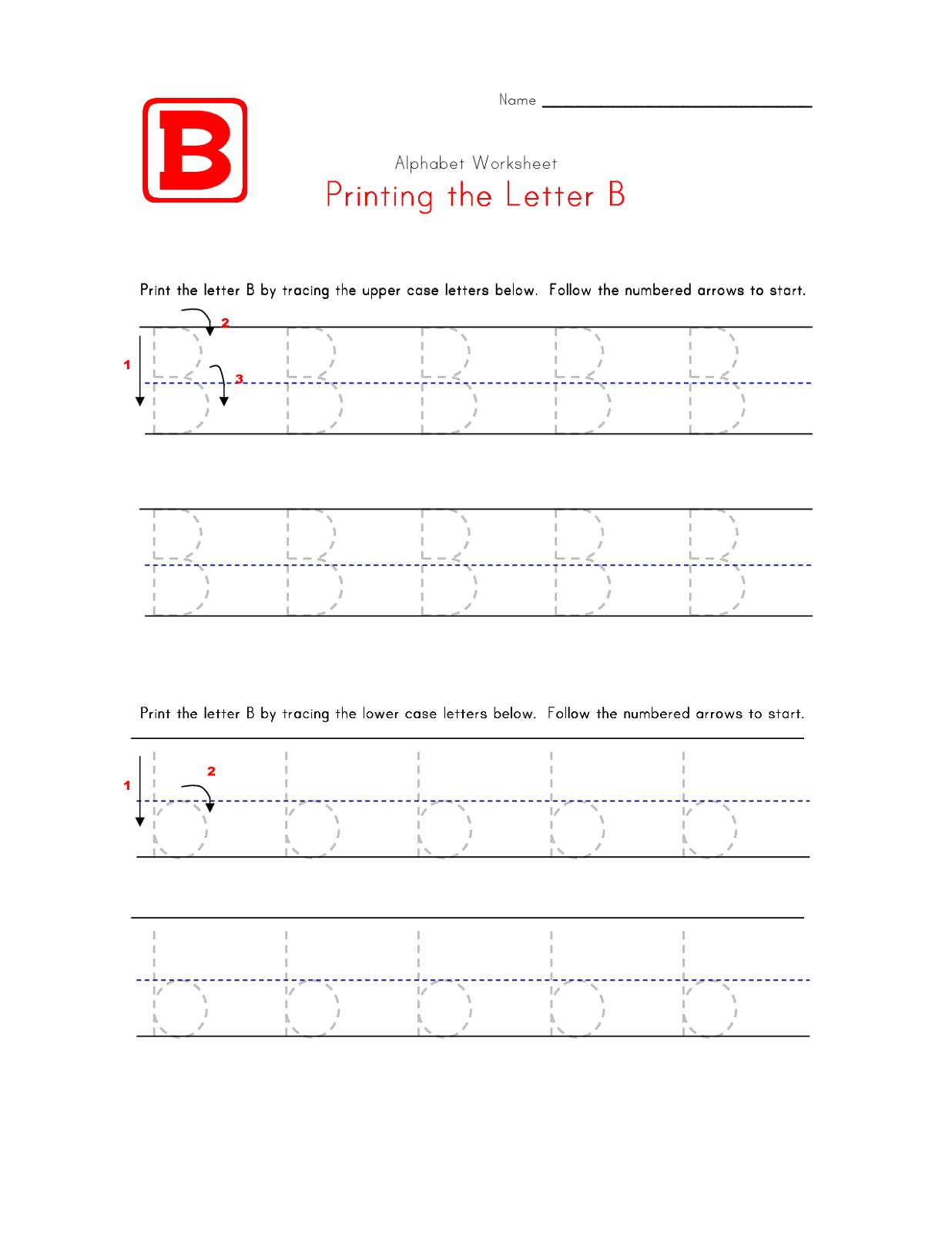 trace letter b bee worksheet