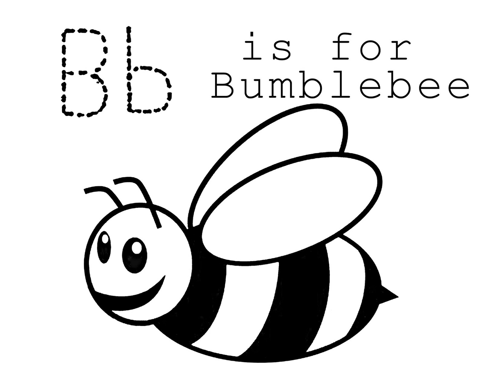 trace letter b bumblebee