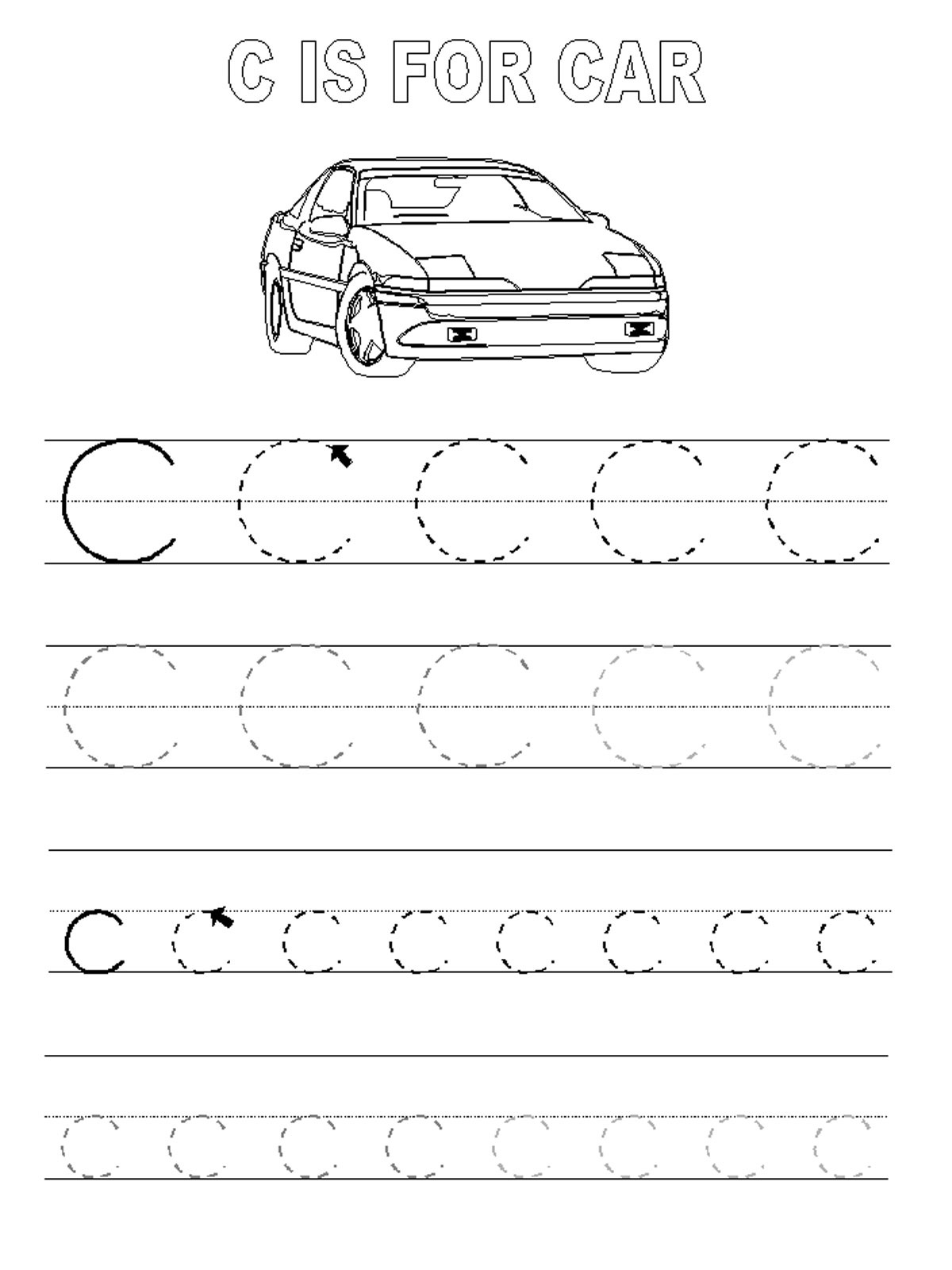 trace letter c car