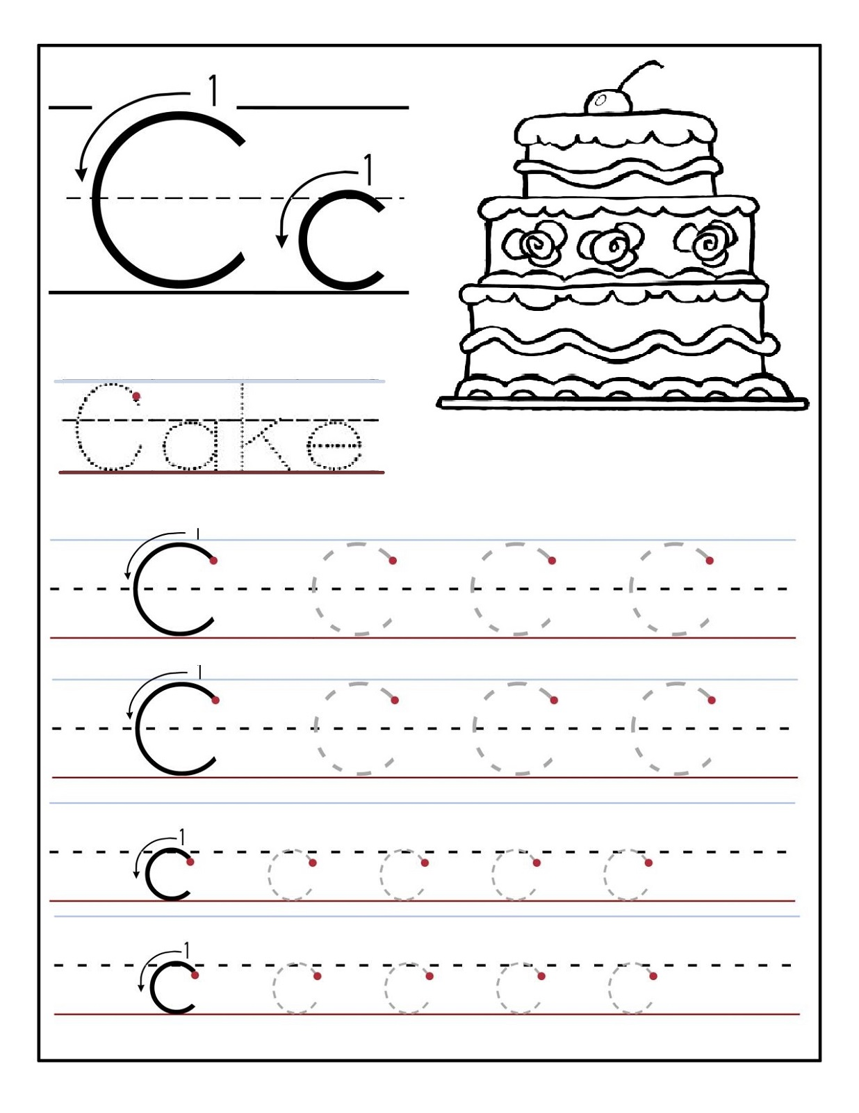 trace letter c for cake