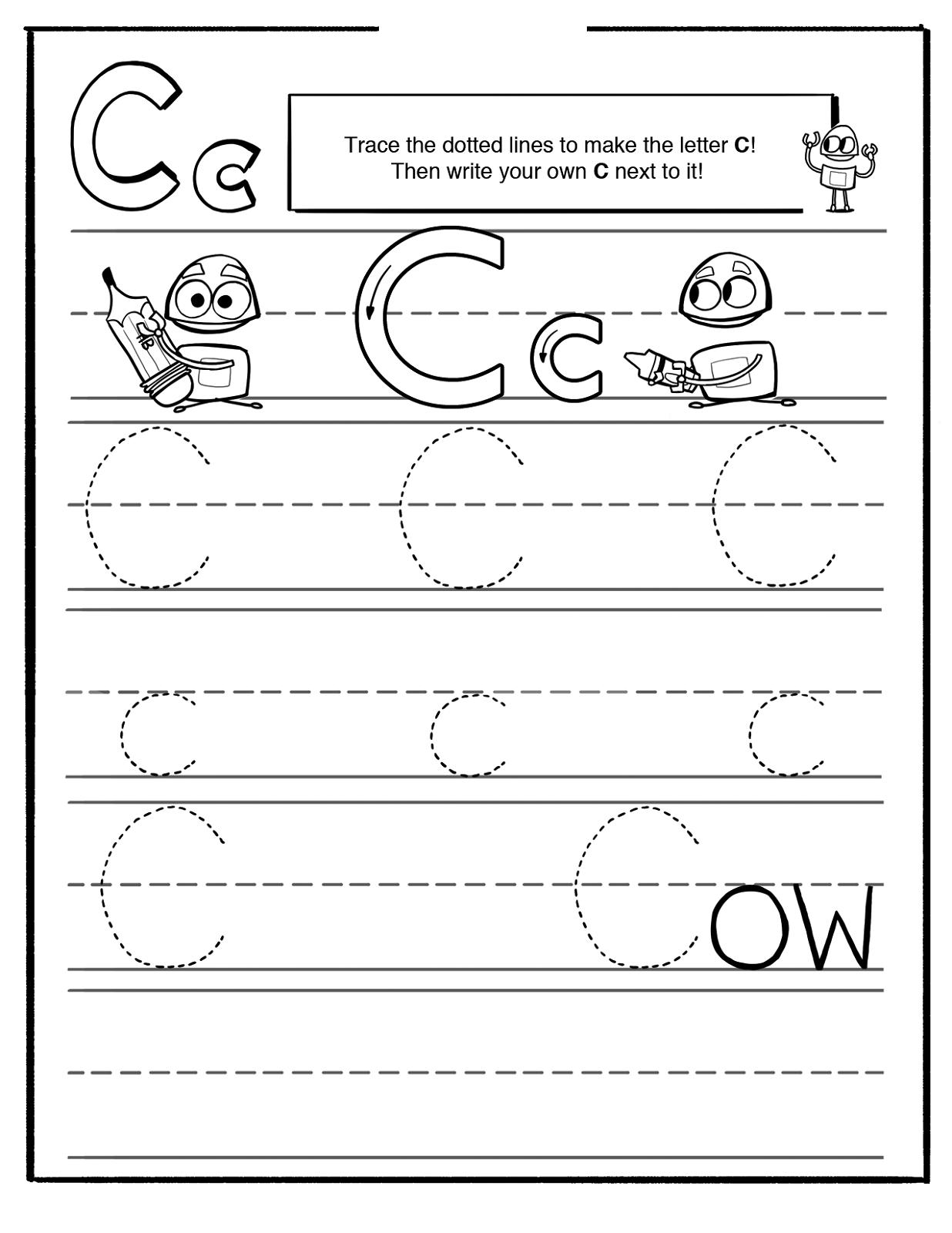 trace letter c worksheet