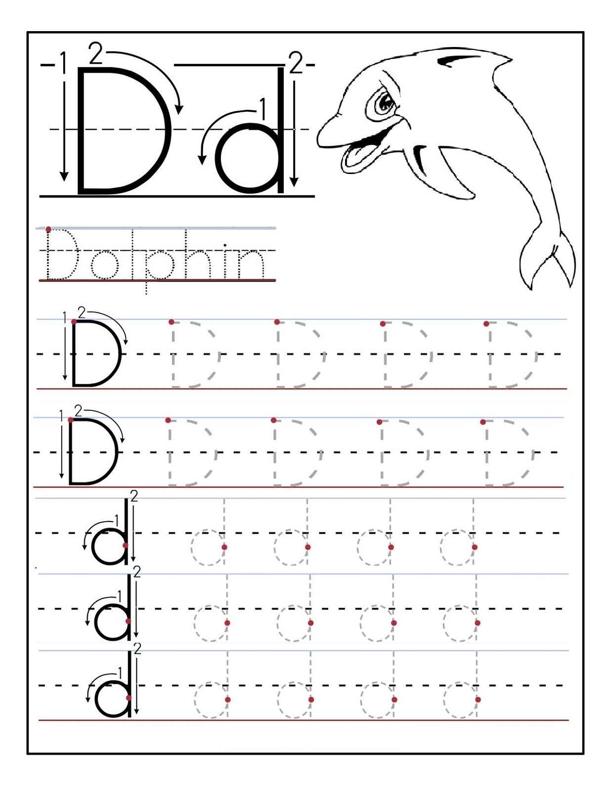 Worksheet Trace Letter D trace letter d worksheets activity shelter dolphin