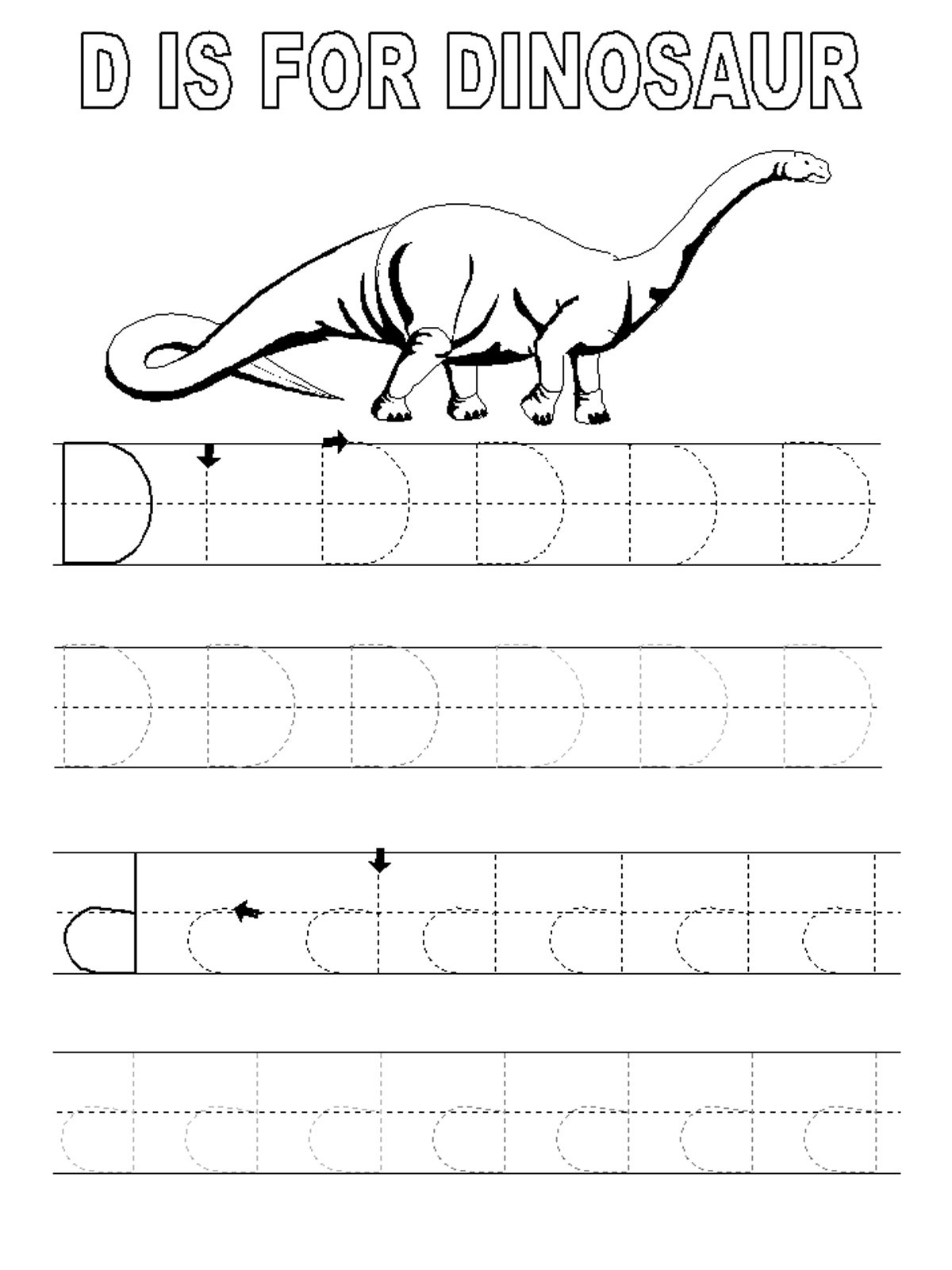 Trace Letter D Worksheets | Activity Shelter