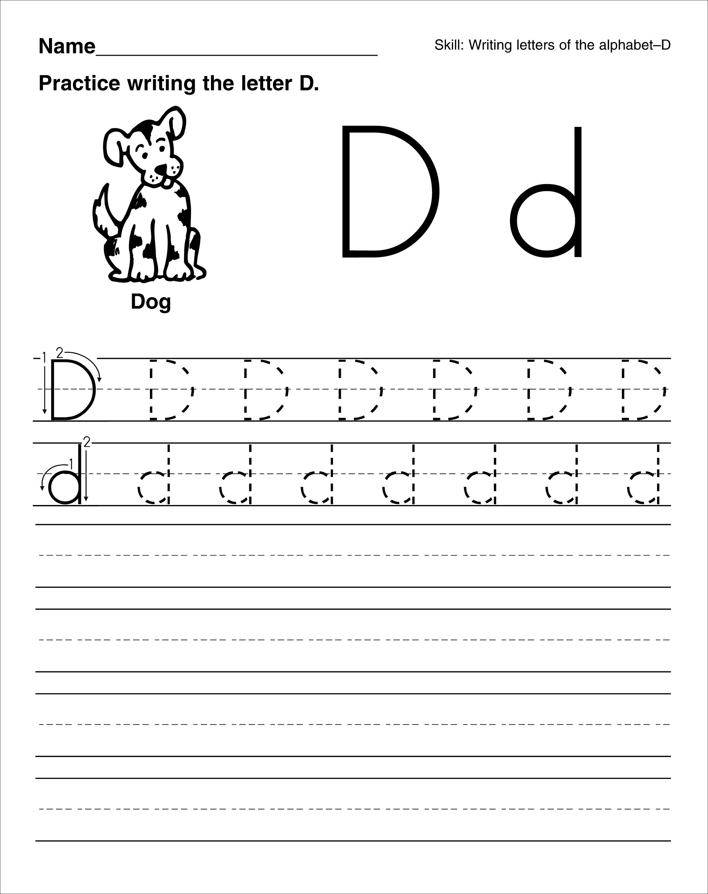 Worksheet Trace Letter D trace letter d worksheets activity shelter for dog