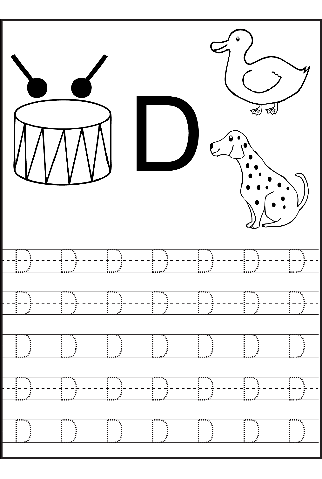 trace letter d worksheets activity shelter. Black Bedroom Furniture Sets. Home Design Ideas