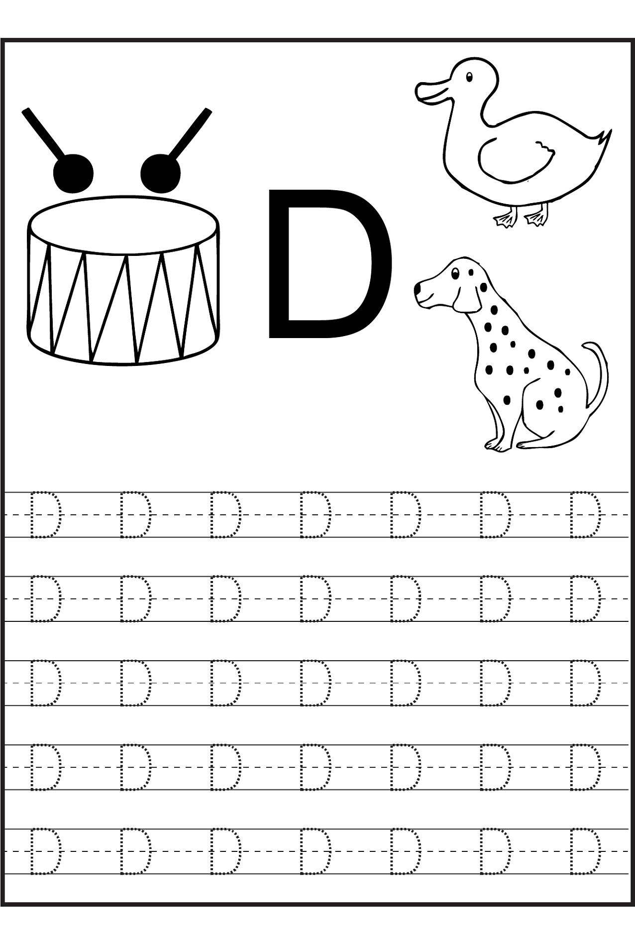 Letter D Tracing Worksheets.Trace Letter D Worksheets Activity Shelter