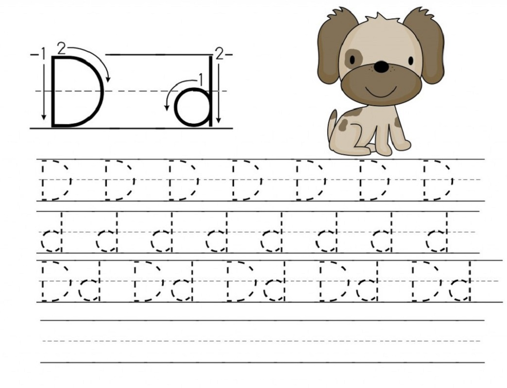 trace letter d with puppy