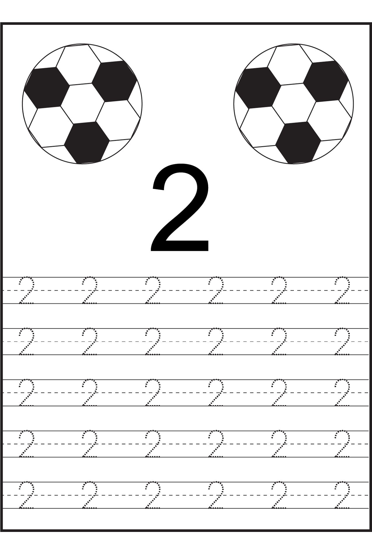 Number 2 coloring pages - Trace Number 2 Ball