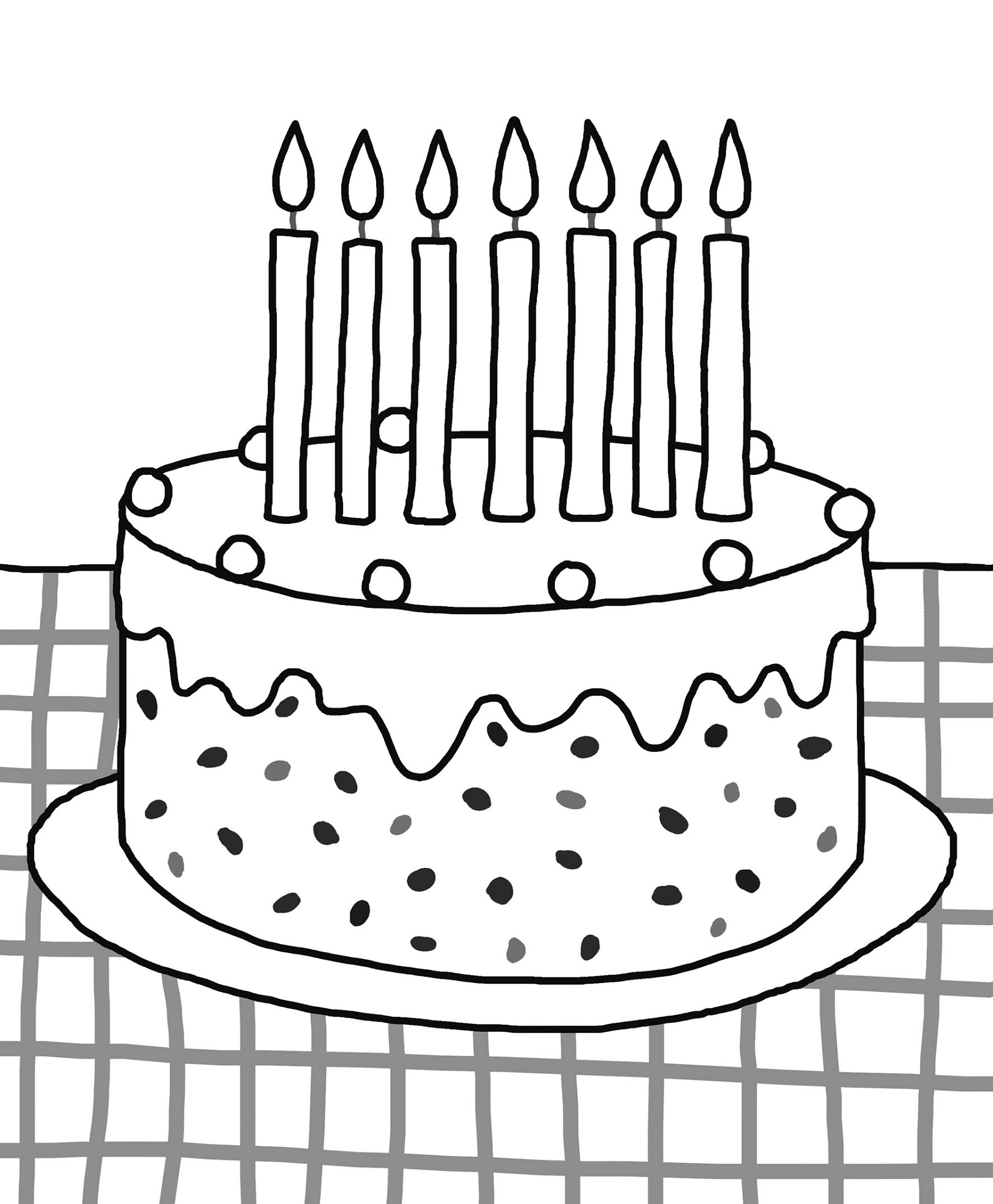 Birthday Cake Color Pages Activity