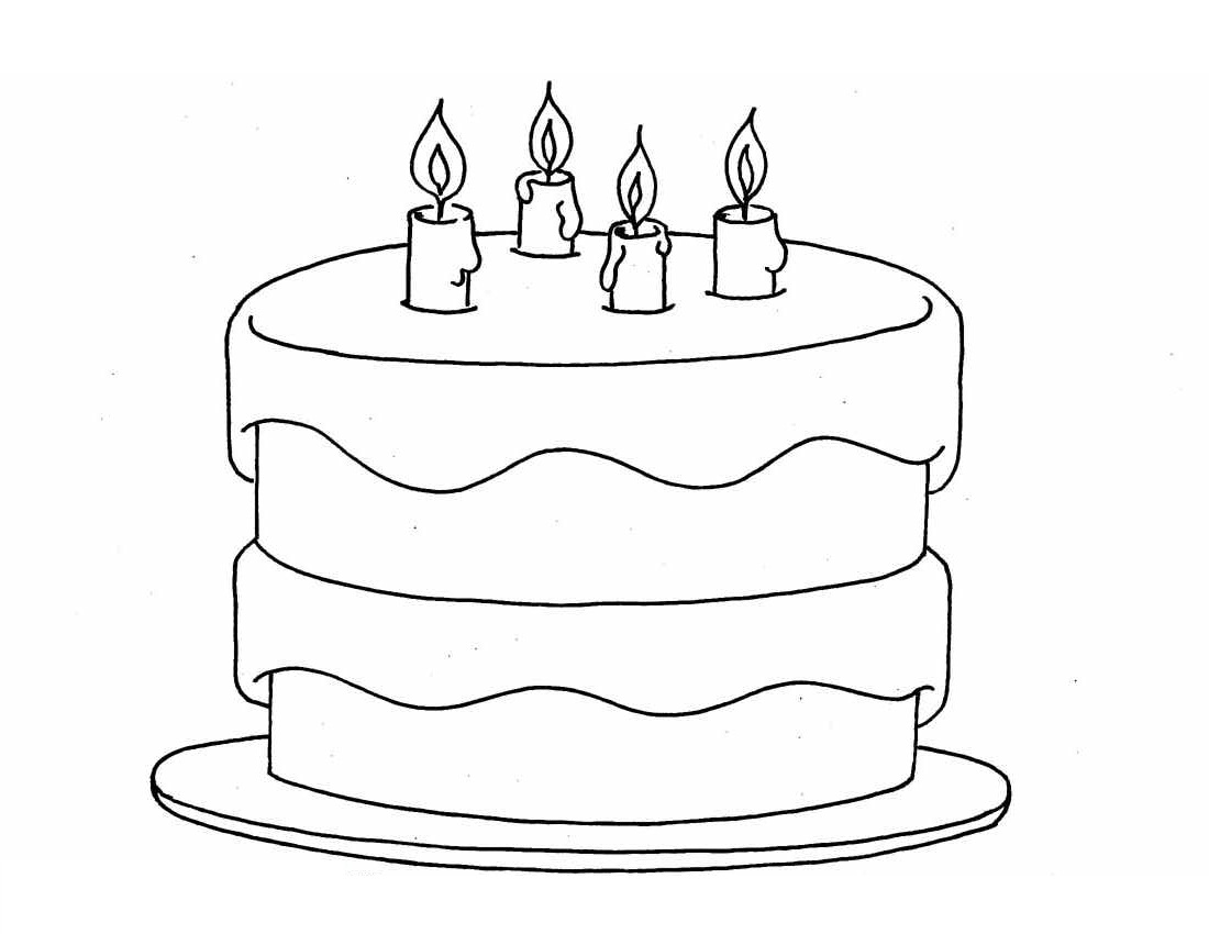 birthday cake color page simple