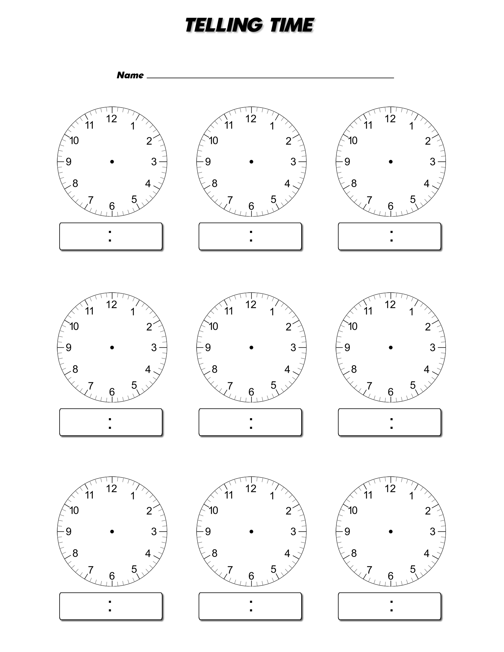 Clock Face Worksheets to Print | Activity Shelter