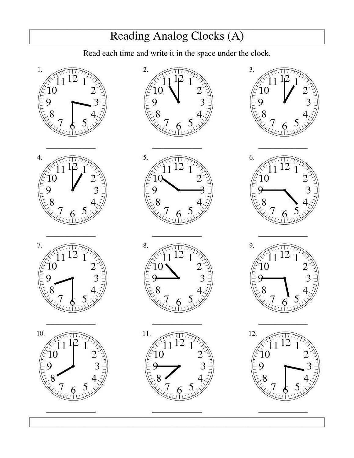 clock face worksheets to print activity shelter. Black Bedroom Furniture Sets. Home Design Ideas