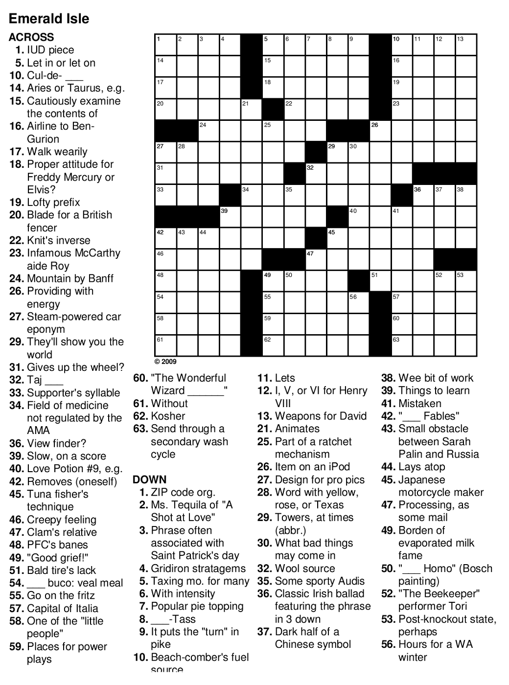 This is an image of Nerdy Easy Crosswords Printable