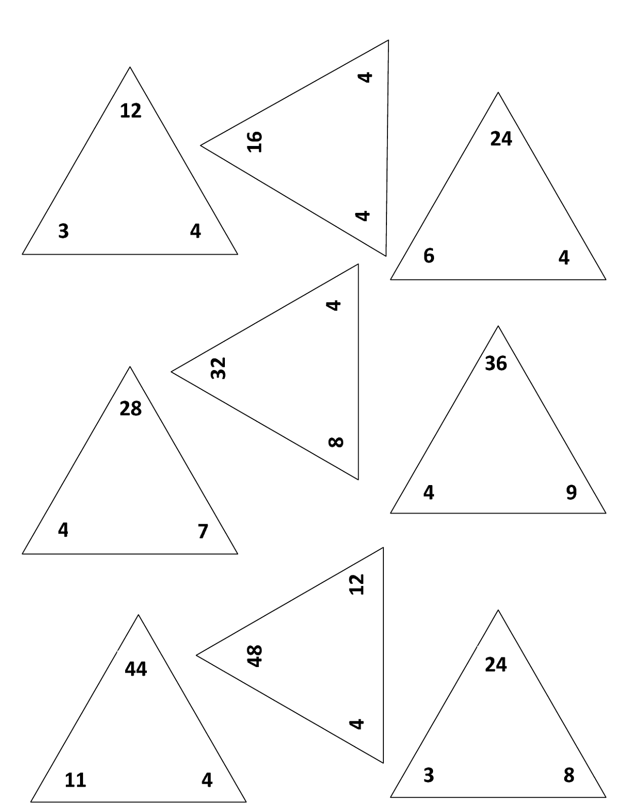Printable Fact Triangles Worksheets – Fact Triangles Multiplication and Division Worksheets