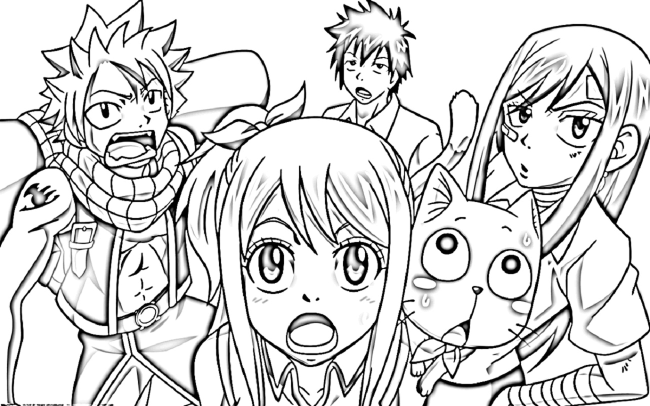 Fairy Tail Anime Chibi Coloring Pages Sketch Coloring Page