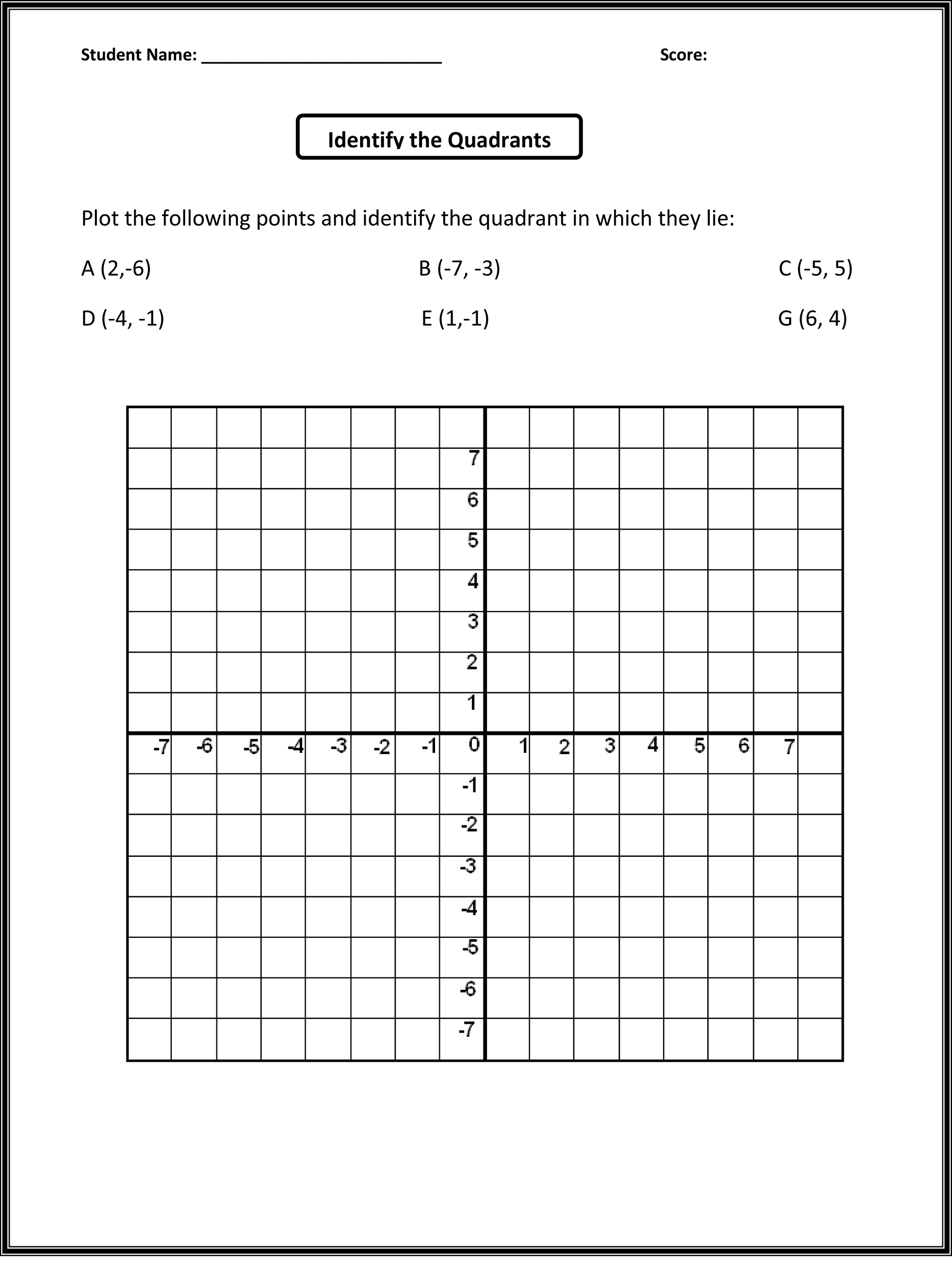 Free Math Grid Worksheets – Geometry Worksheets 5th Grade