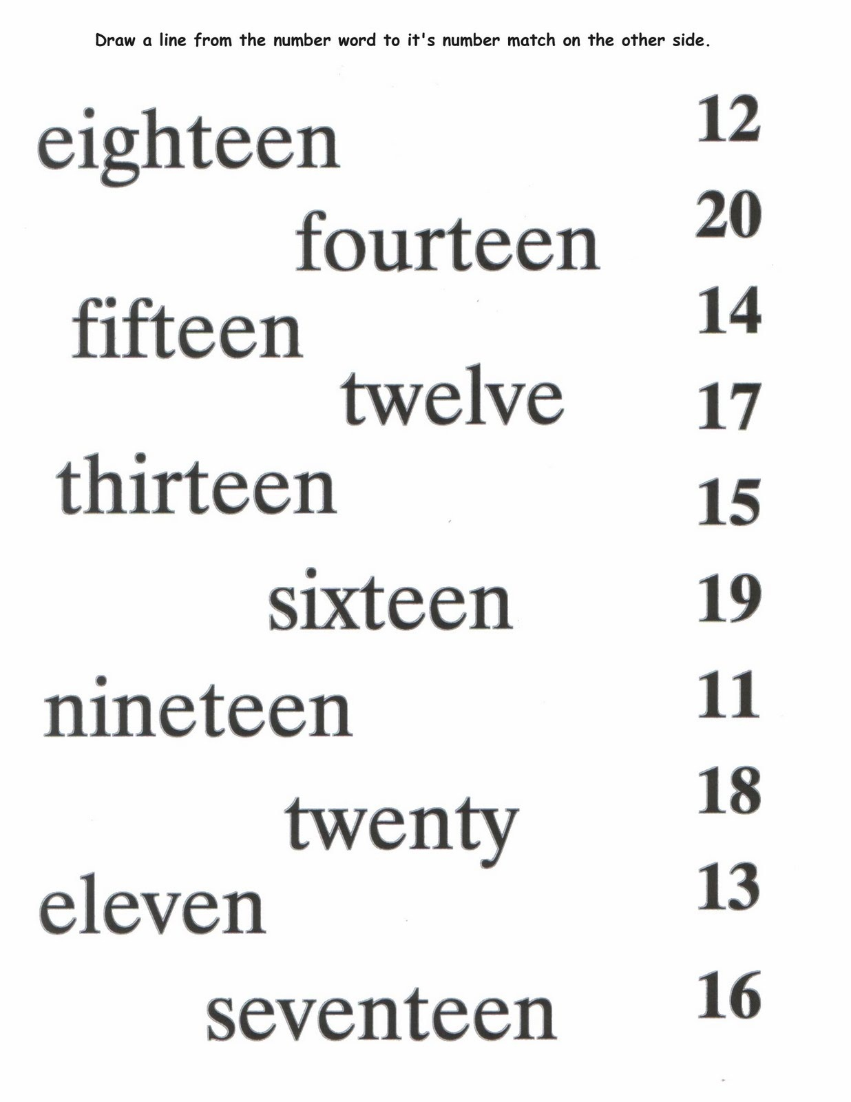 Printable Number Words Worksheets – Number Words Worksheet