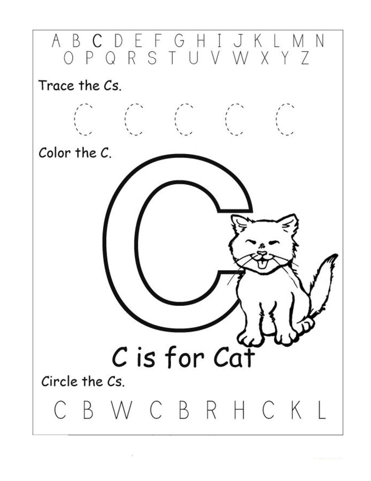 Worksheets Letter C Worksheets trace the letter c worksheets activity shelter cat