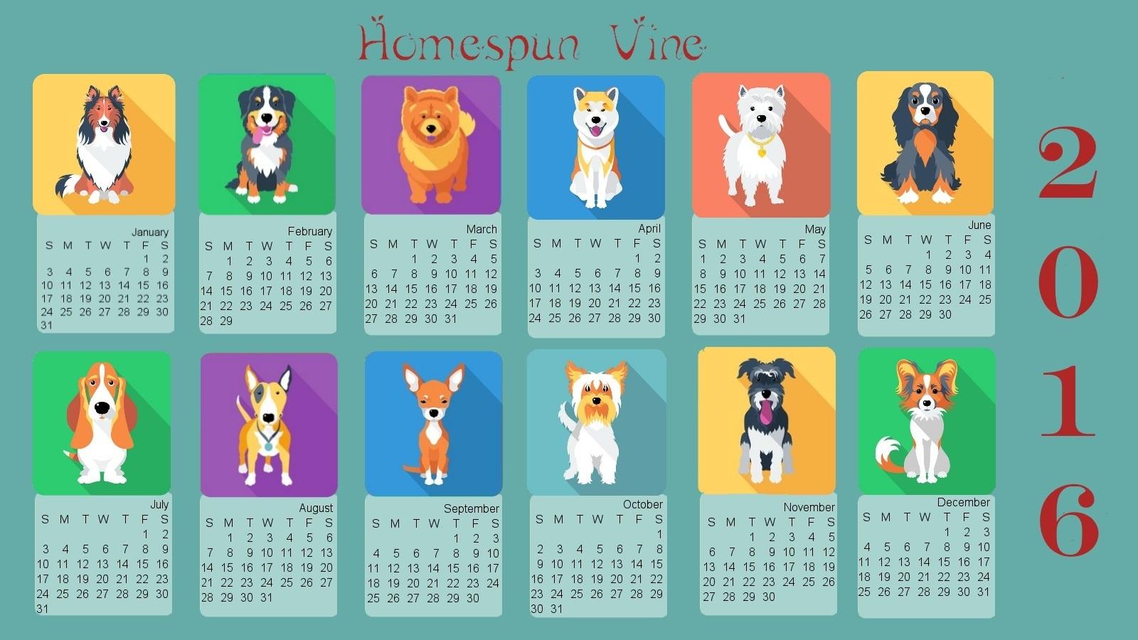 2016-calendar-animals