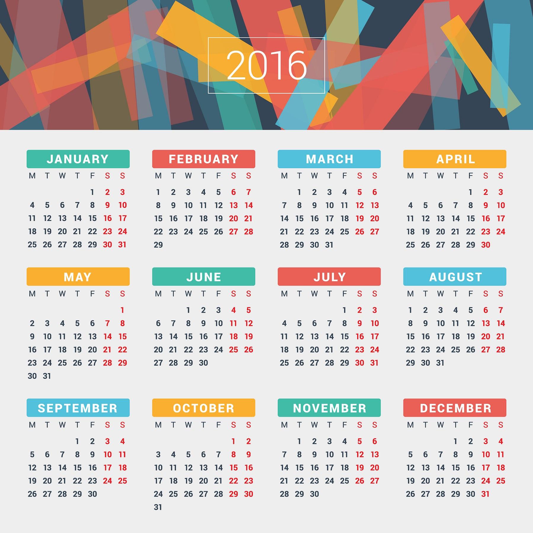 2016 Calendar fullcolour