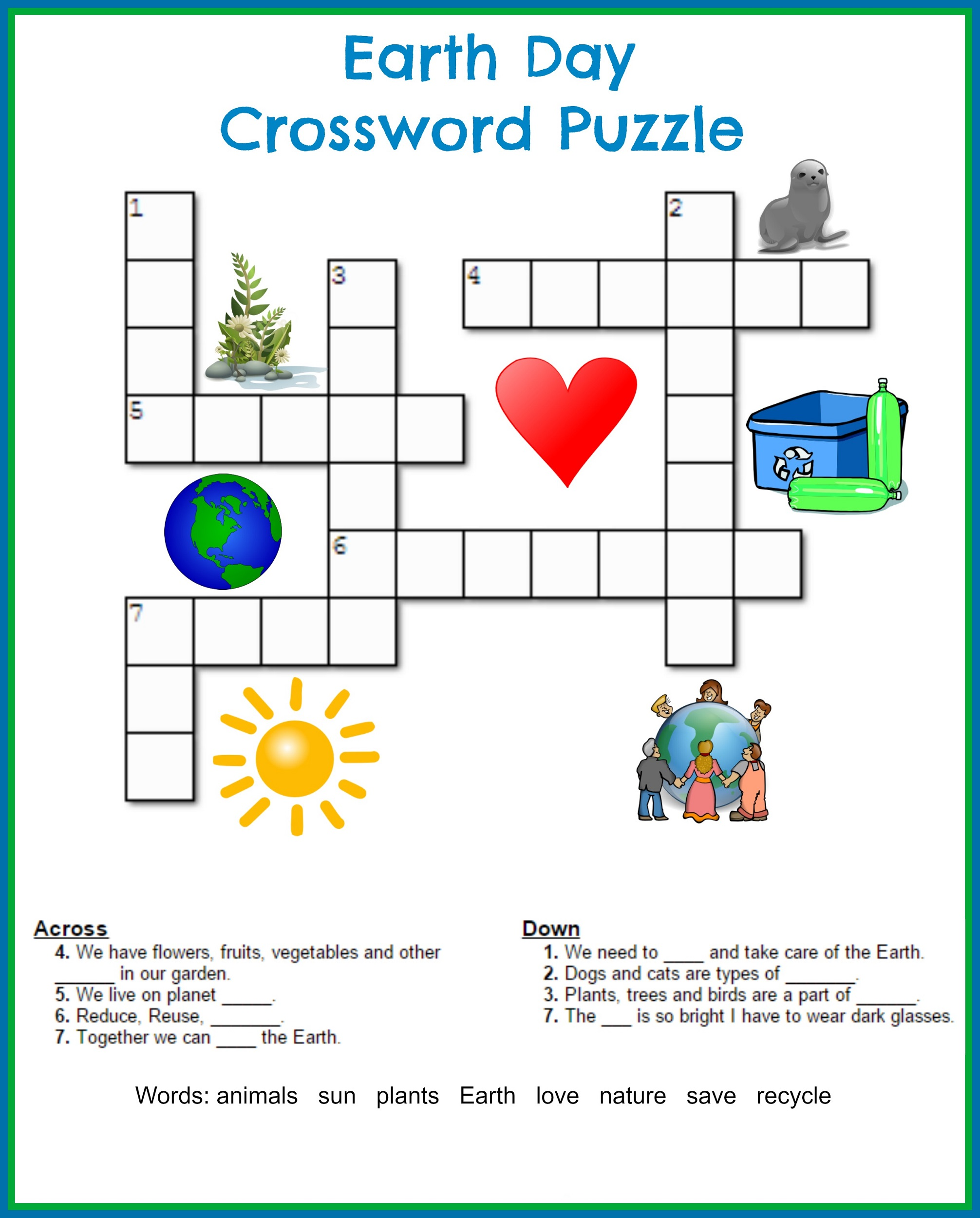 Printable Crossword Puzzles Kids on Recycle Worksheets
