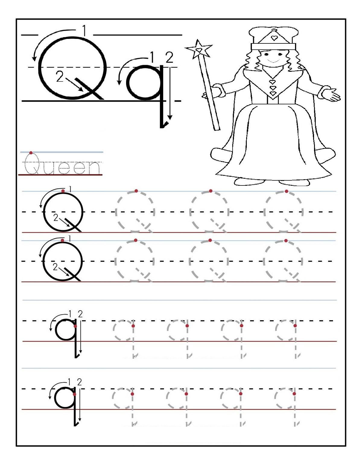 trace the alphabet q letter