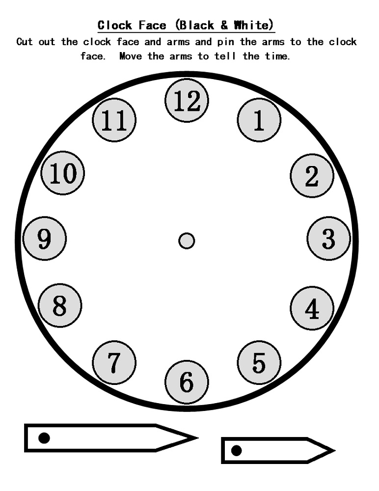 Blank clock faces templates activity shelter for Printable clock hands template