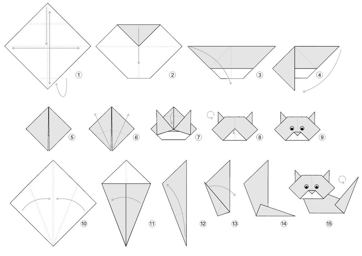 Как сделать из бумаги оригами котёнка
