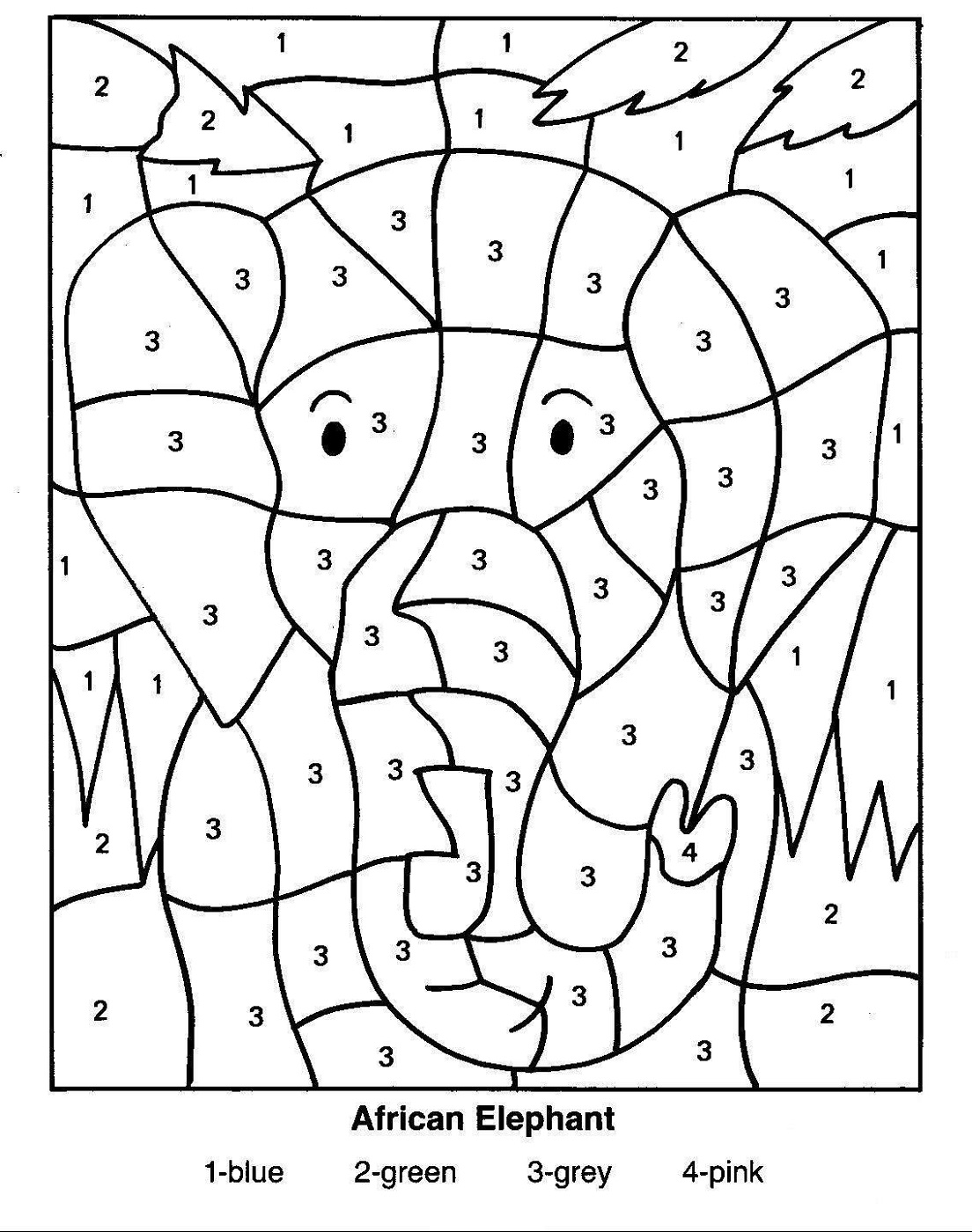 color by number worksheet elephant