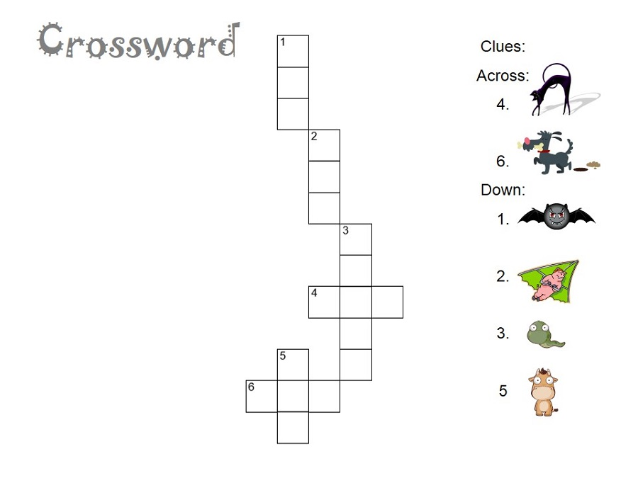 Easy Crossword Puzzles For Kids Animal