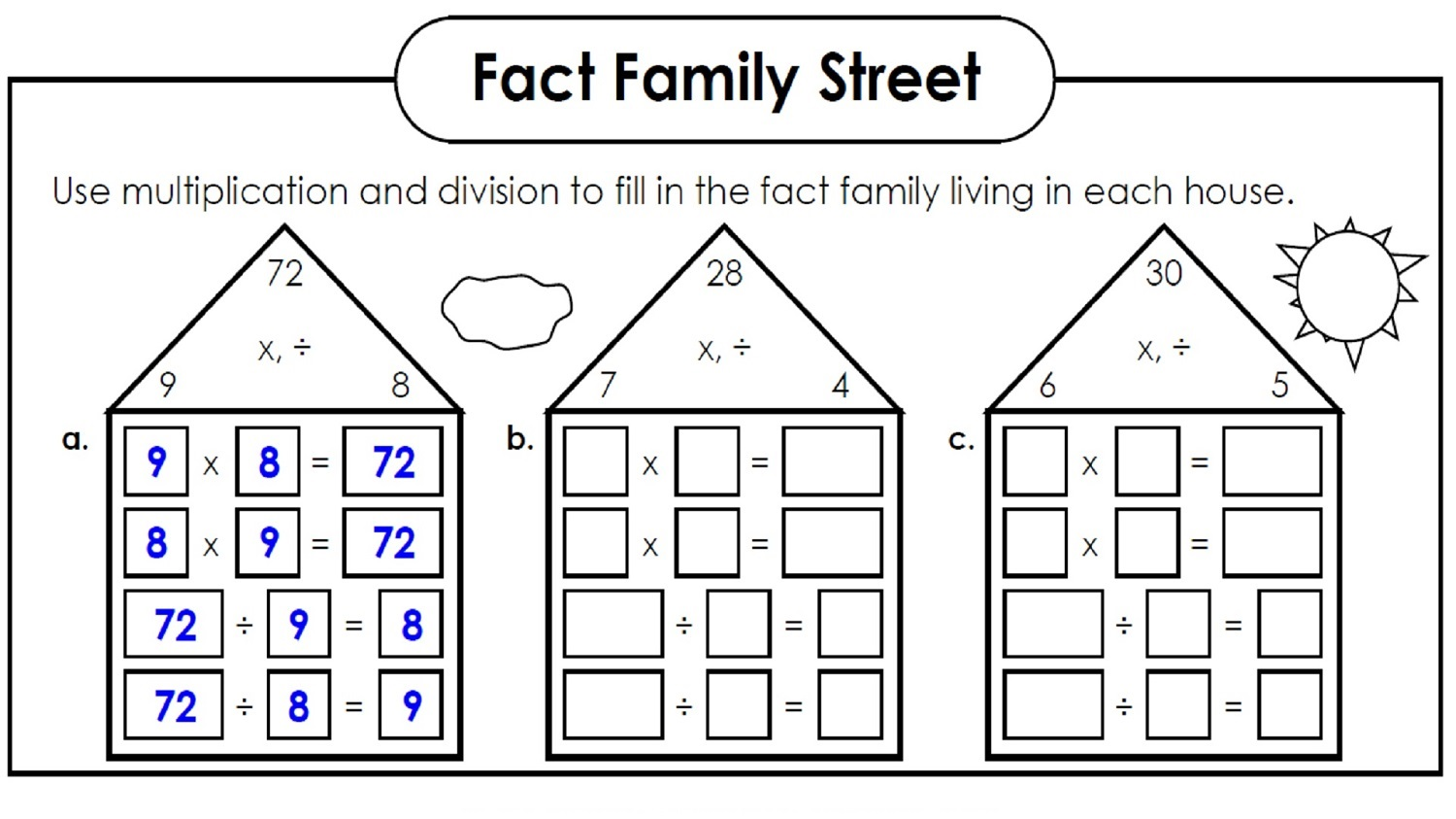 Workbooks multiplication and division facts worksheets : Fact Family Worksheets to Print | Activity Shelter
