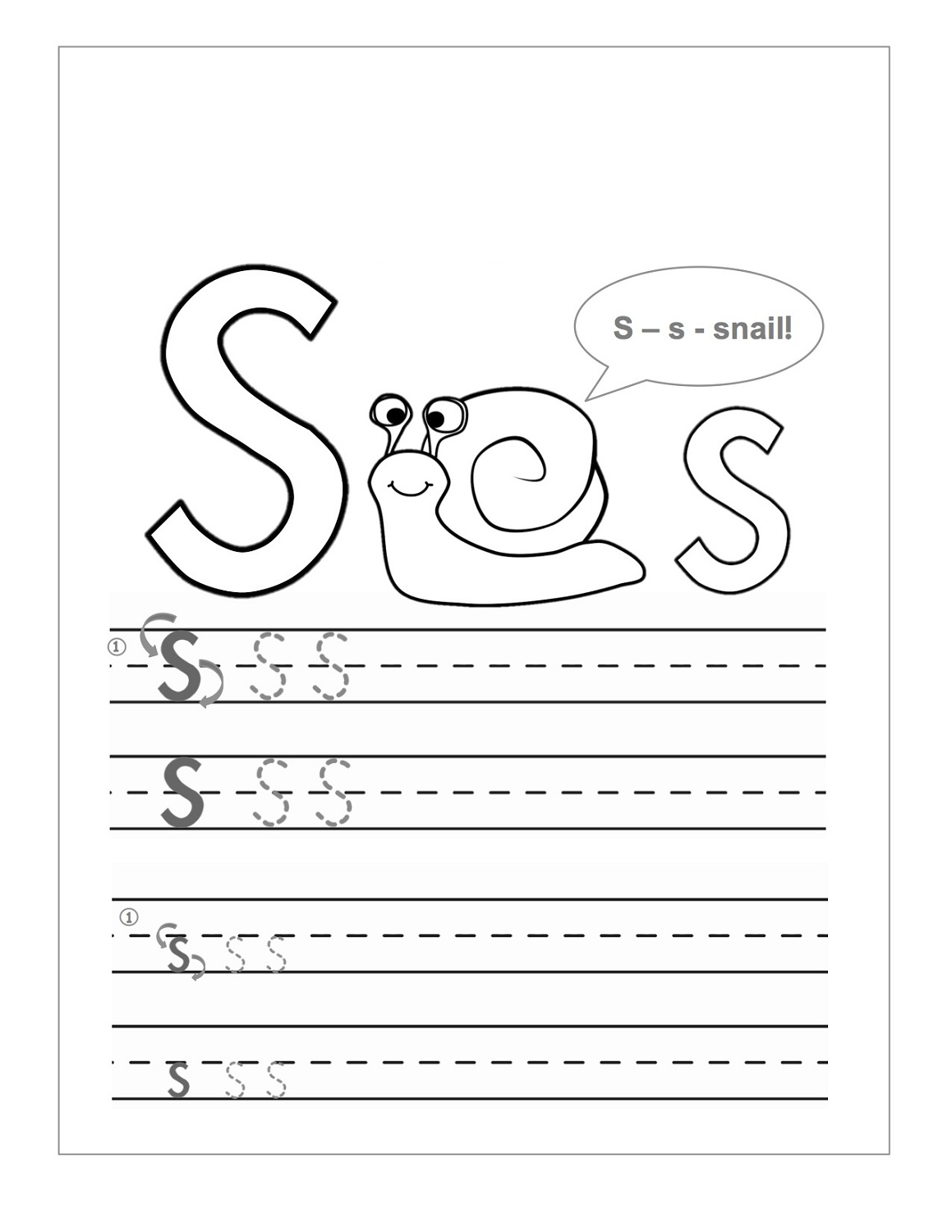 This is an image of Modest Letter S Printable